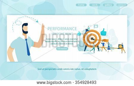 Poster Performance Improvement, Landing Page. Banner Individual Achievement Results To Improve Perfo