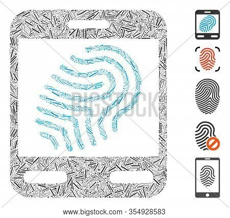 Line Mosaic Based On Fingerprint Scanner Icon. Mosaic Vector Fingerprint Scanner Is Created With Ran