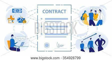 Closeup Work Contract Sign Vector Illustration. Business Career Growth Opportunity. Teamwork, Welcom