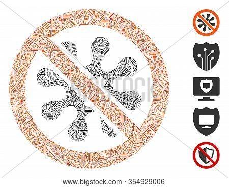 Hatch Mosaic Based On Antivirus Icon. Mosaic Vector Antivirus Is Created With Randomized Hatch Spots