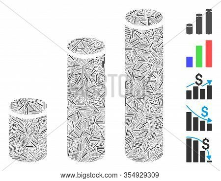 Hatch Mosaic Based On Bar Chart Cylinders Icon. Mosaic Vector Bar Chart Cylinders Is Formed With Sca