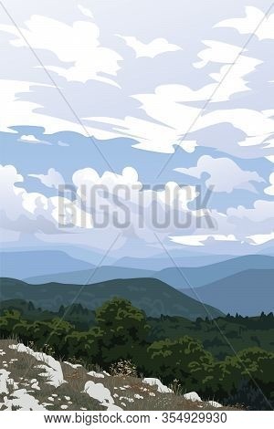 Mountain Valley. Crimea. View From The Bald Mountain To Forest, Other Mountain Ranges And Cloudy Sky
