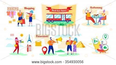 Set Advantages Best Bus Tour Vector Illustration. Man Shopping At 50 Percent Discount. Couple Trying