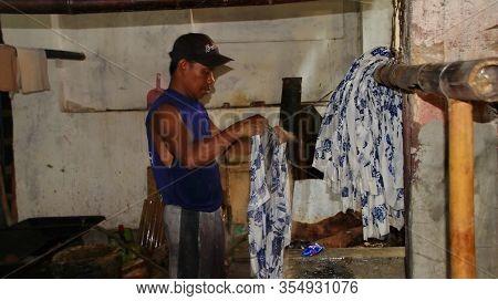 Activity Of Drying Batik Cloth,  Pekalongan, Indonesia, March 7, 2020
