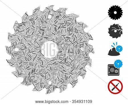 Dash Mosaic Based On Circular Saw Blade Icon. Mosaic Vector Circular Saw Blade Is Designed With Rand