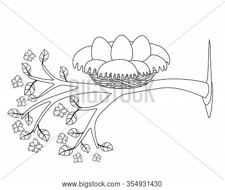 Nest With Three Eggs On A Flowering Tree - Vector Spring Linear Picture. Birds Cozy Cute Nest On A B