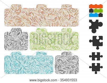 Dash Mosaic Based On Toy Constructor Bricks Icon. Mosaic Vector Toy Constructor Bricks Is Composed W