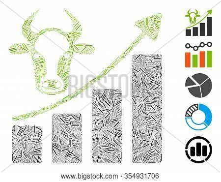 Dash Mosaic Based On Cattle Chart Grow Up Icon. Mosaic Vector Cattle Chart Grow Up Is Designed With