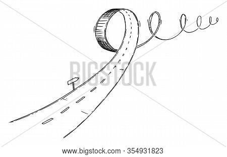 Vector Black And White Conceptual Business Drawing Or Illustration Of Turbulent Road, Problem Or Obs