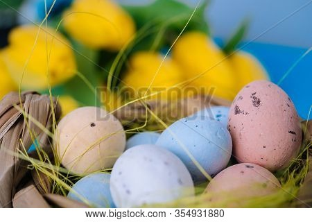 Happy Easter. Easter Holiday Decorations On Trendy Colored Classic Blue Background.