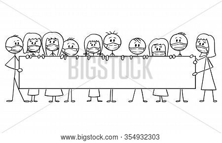 Vector Cartoon Stick Figure Drawing Conceptual Illustration Of Group Of People Wearing Face Masks An