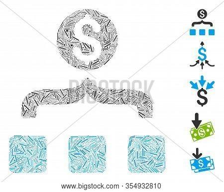Line Mosaic Based On Money Aggregator Icon. Mosaic Vector Money Aggregator Is Composed With Scattere