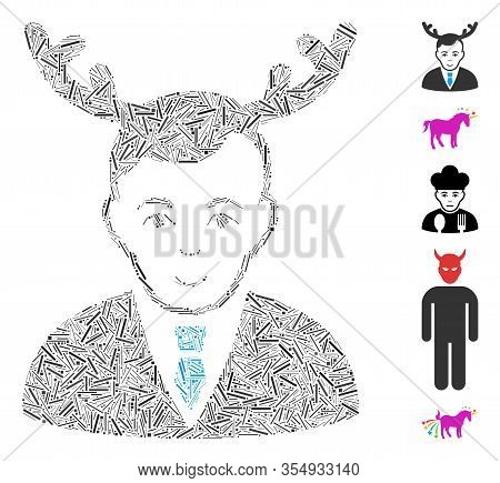 Line Mosaic Based On Horned Husband Icon. Mosaic Vector Horned Husband Is Created With Scattered Lin