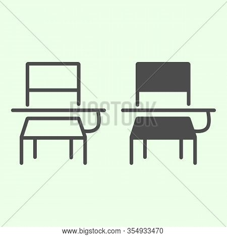 School Desk Line And Solid Icon. Classroom Student Table And Chair Outline Style Pictogram On White