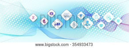 Abstract Health Care Banner Template With Flat Icons. Healthcare Medicine Concept. Crispr Cas9 - Gen