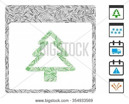 Dash Mosaic Based On Fir Tree Calendar Page Icon. Mosaic Vector Fir Tree Calendar Page Is Composed W