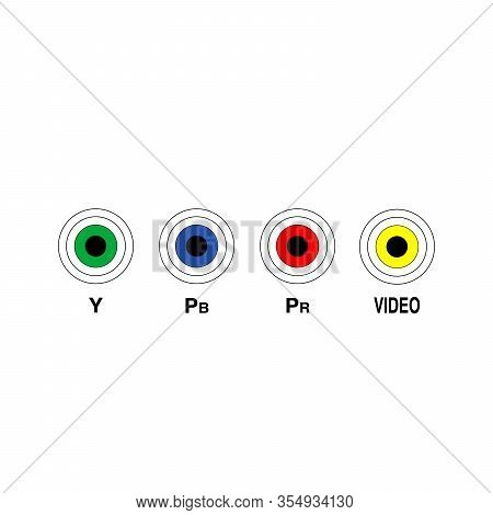 Television And Other Technical Devices Rca Ports. Y Pb Pr Video Ports Indication. Stock Vector Illus