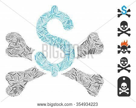 Line Mosaic Based On Mortal Debt Icon. Mosaic Vector Mortal Debt Is Designed With Random Line Elemen
