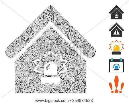 Line Mosaic Based On Realty Alarm Icon. Mosaic Vector Realty Alarm Is Created With Randomized Line E