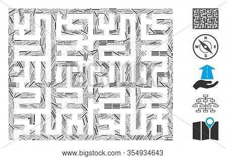 Dash Mosaic Based On Labyrinth Icon. Mosaic Vector Labyrinth Is Composed With Scattered Dash Items.