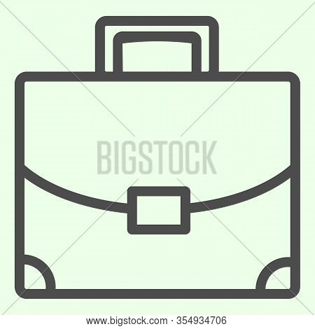 Briefcase Line Icon. Student Personal Case Outline Style Pictogram On White Background. Handle Diplo