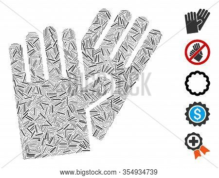 Hatch Collage Based On Rubber Gloves Icon. Mosaic Vector Rubber Gloves Is Formed With Randomized Hat