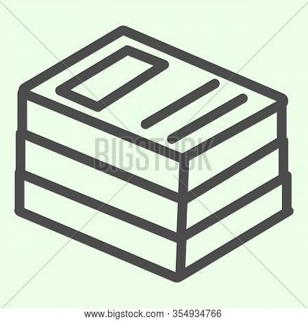 Office Folders Line Icon. Stack Of Binders Outline Style Pictogram On White Background. School Or Bu