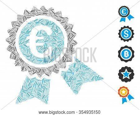 Line Mosaic Based On European Guarantee Seal Icon. Mosaic Vector European Guarantee Seal Is Formed W