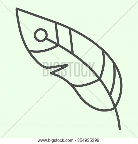 Feather Thin Line Icon. Decorative Witchcraft Plume Outline Style Pictogram On White Background. Wit