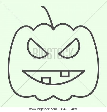 Halloween Pumpkin Thin Line Icon. Carved Burning Gourd With Scary Face Outline Style Pictogram On Wh