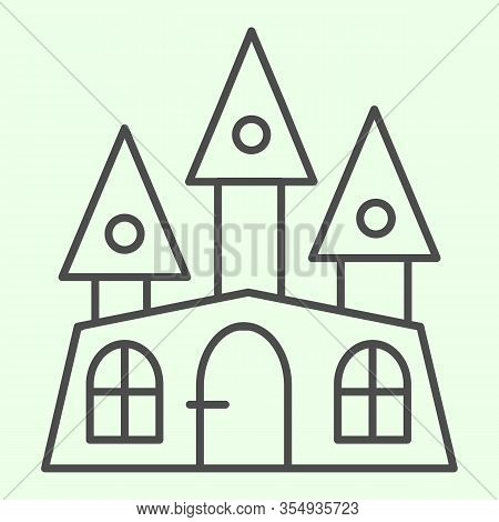 Haunted House Thin Line Icon. Halloween Mystical Gothic Building Outline Style Pictogram On White Ba