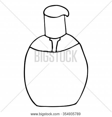 Bottle Of Cosmetics With Dispenser For Emulsions, Oil, Base Isolated On A White Background. Simple H