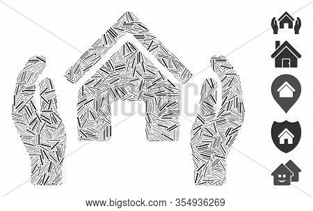 Line Mosaic Based On Realty Insurance Hands Icon. Mosaic Vector Realty Insurance Hands Is Composed W