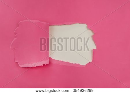 Breakout Pink Paper Hole With White Background.