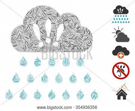 Dash Mosaic Based On Thunderstorm Rain Cloud Icon. Mosaic Vector Thunderstorm Rain Cloud Is Composed
