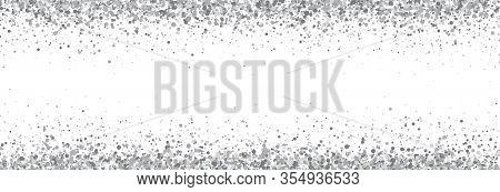 Glitter Silver Long Border Isolated On White Background. Luxury Glitter Decoration Banner. Gray Spar