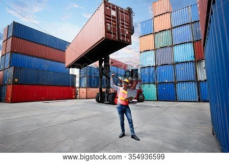 Business Man Raised Fist Air Corporate Celebration Victory Of Deal Export Product With Background Of