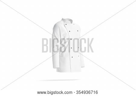 Blank White Chef Jacket With Buttons Mock Up, Side View, 3d Rendering. Empty Jaket Or Pea For Cooker
