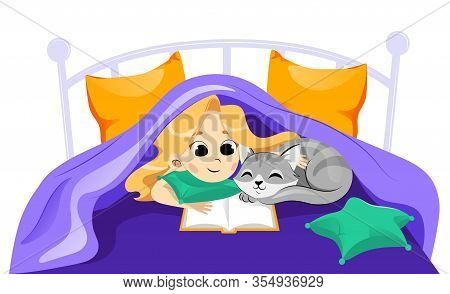 Animal Shelter, Animal Adoption, Care, Friendship Concept. Happy Little Girl Child With Cat Under Th
