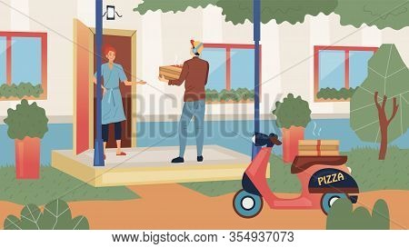 Meal Delivery Concept. Pizza Guy Deliver Food By Order To Customer House. Fast Delivery Of Hot Fresh