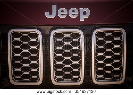Bucharest, Romania - October 23, 2019: Illustrative Editorial Close Up Shot Of The Jeep Logo On A Ca