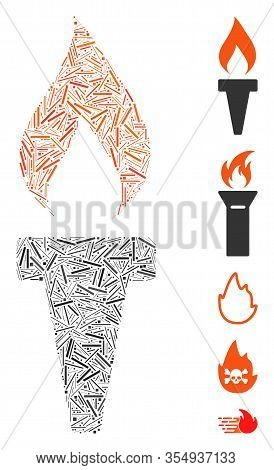 Hatch Mosaic Based On Fire Torch Icon. Mosaic Vector Fire Torch Is Created With Randomized Hatch Spo