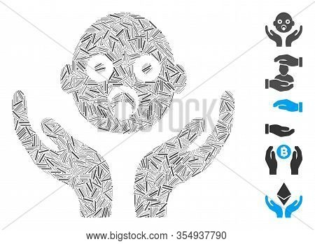 Hatch Mosaic Based On Baby Care Hands Icon. Mosaic Vector Baby Care Hands Is Composed With Scattered