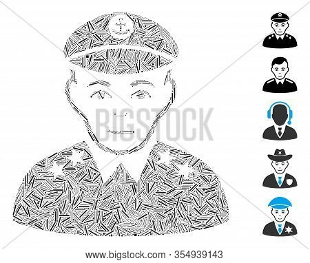 Hatch Mosaic Based On Military Captain Icon. Mosaic Vector Military Captain Is Designed With Scatter