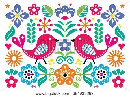 Scandinavian Folk Art Vector Ccute Floral Pattern, Greeting Card Or Invitation A7 Format Design With
