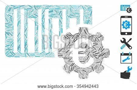 Hatch Mosaic Based On Euro Barcode Setup Icon. Mosaic Vector Euro Barcode Setup Is Composed With Sca