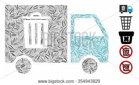 Hatch Mosaic Based On Rubbish Transport Van Icon. Mosaic Vector Rubbish Transport Van Is Designed Wi