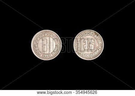 Coin 1 Novi Dinar Yugoslavia. Black Background, Close-up.