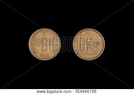 Egypt Coin Ten Piastres 1992. Black Background. Close-up.