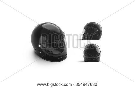 Blank Black Armor Helmet With Glass Mockup, Different Views, 3d Rendering. Empty Skydiving Or Motorb